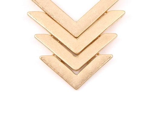 Line Chevron Necklace - Matte Gold