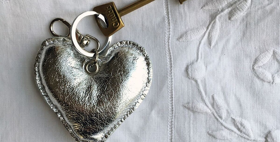 Silver and Gold Puffed Heart Leather Keyrings