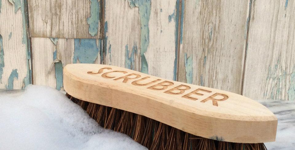 Wood and Bristle Scrubber Scrubbing Brush