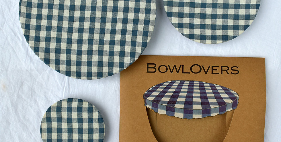 Set of Three Blue Gingham Cotton BowlOver Bowl Covers