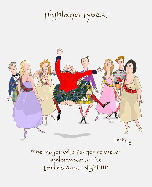 Card, Highland Flummery - 'The Major who forgot to wear..'