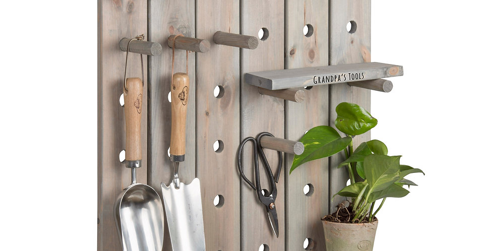 Personalised Wood Shed Pegboard with Shelves