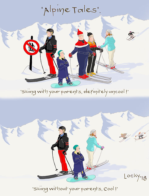 Card, Alpine Tales - 'Skiing with your parents,........'