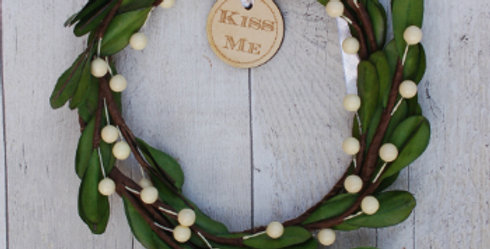Faux Mistletoe Kiss Me Wreath