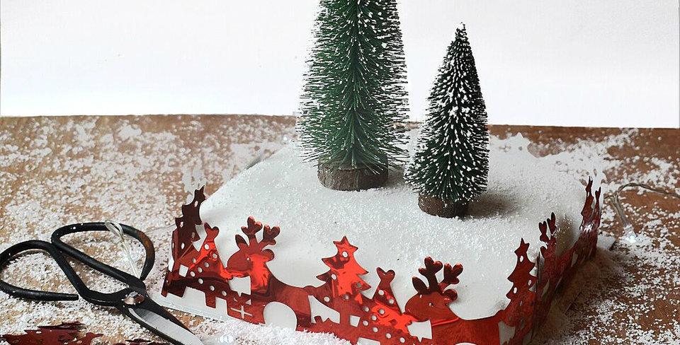 Set of 2 Snowy Bottle Brush Christmas trees