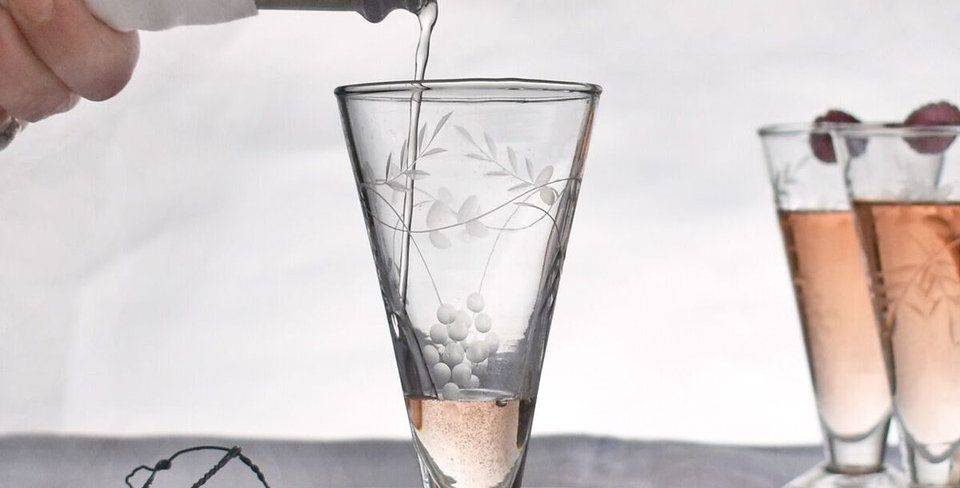 Vintage Style Engraved and Etched Prosecco Glasses