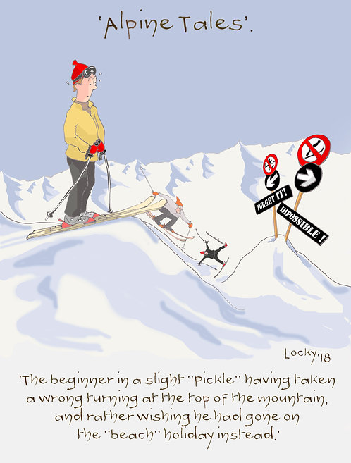 Card, Alpine Tales - 'The beginner in a slight....'