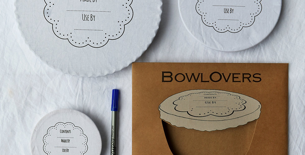Set of Three Write On Wash Out Cotton Bowl Covers