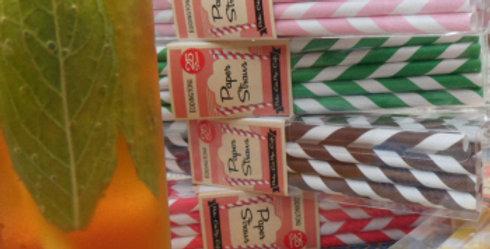 Box of 20 Stripy Retro Paper Straws Pot Luck Colours