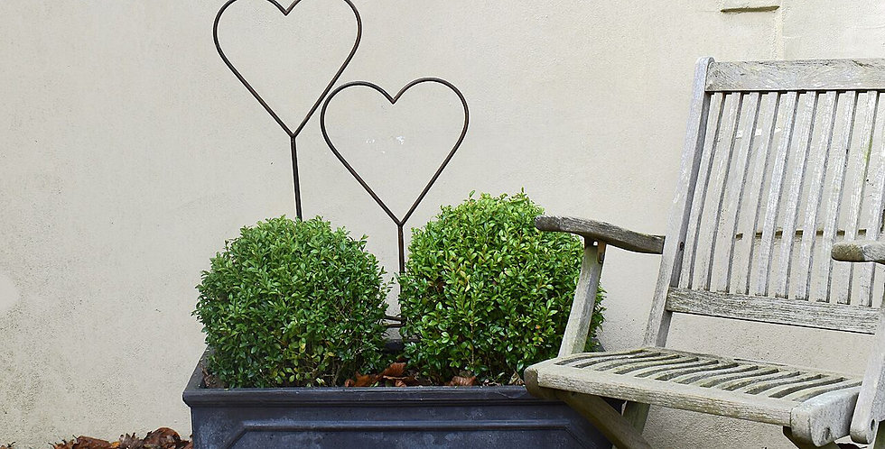 Set of 2 Rusty metal heart topiary frames