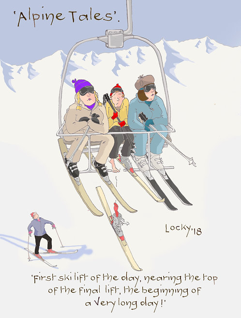 Card, Alpine Tales - 'First ski lift of the day,........'