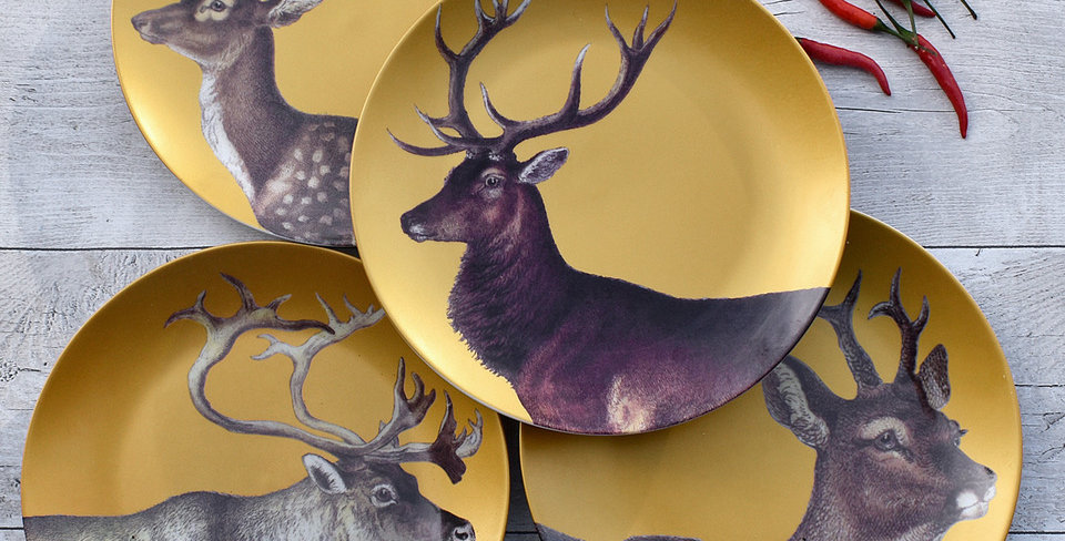 Set of 4 Gold Porcelain Stag Plates
