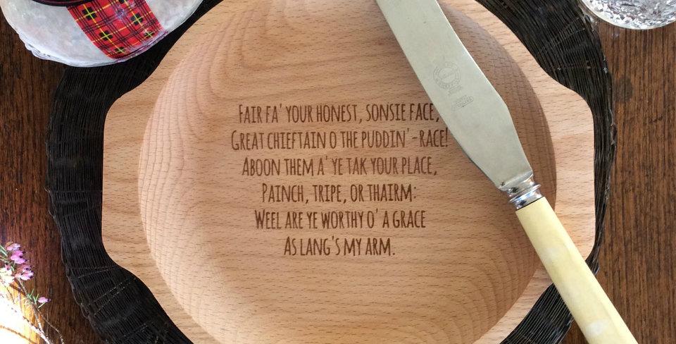 Wooden Burn's Night Haggis Serving Plate