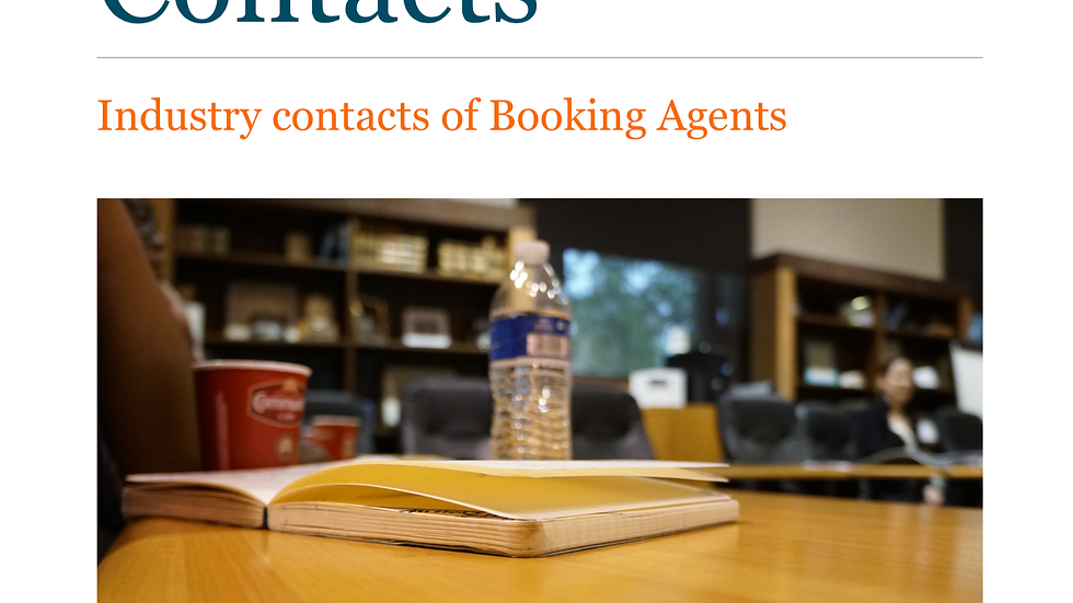 Entertainment Industry Contacts (Booking Agents)