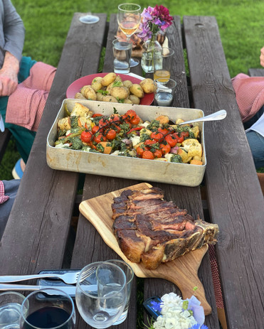 Cote de Bouef New potatoes Roasted veggies, the crunchiest ciabatta croutons, with a delicious, rich homemade pesto dolloped on top