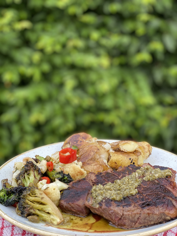 28 day dry aged rump steak with chimichrri Crushed new potatoes Pan roasted brassicas with chilli and garlic