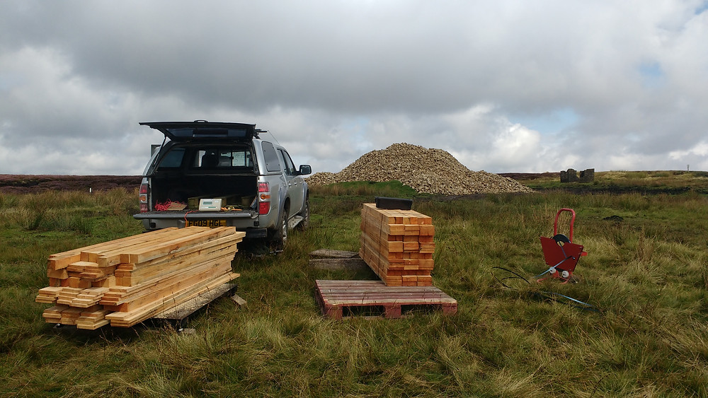 Timber ready for airlifting  with the 900 ton of stone ready for flying.