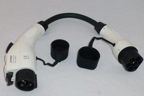 Overgang Type 1 til Type 2 32AMP  0,5 m kabel1-fase