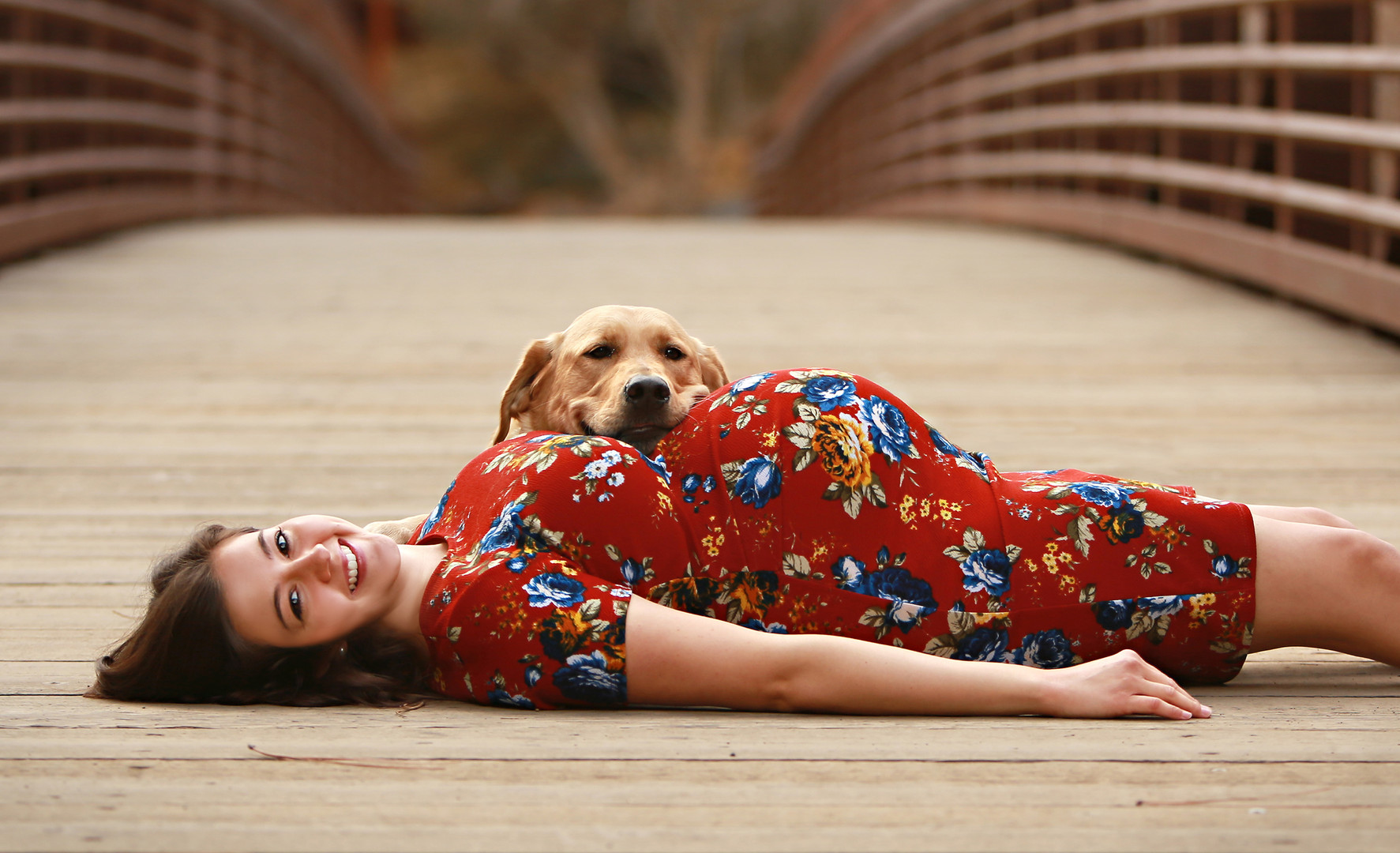 Maternity portraits with fur babies