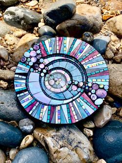 Purple Circles Birdbath
