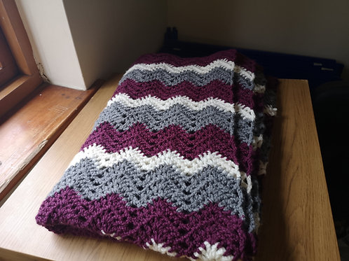 Large purple and grey blanket