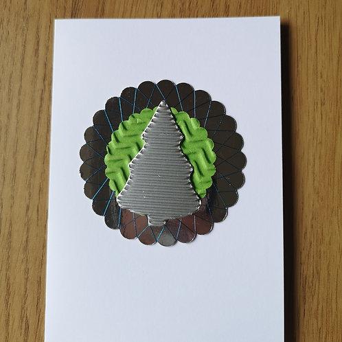Silver christmas tree card