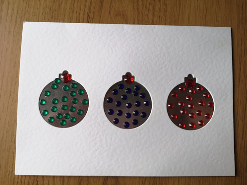 three bauble card