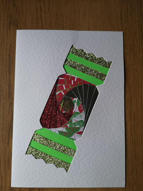 Green christmas cracker card
