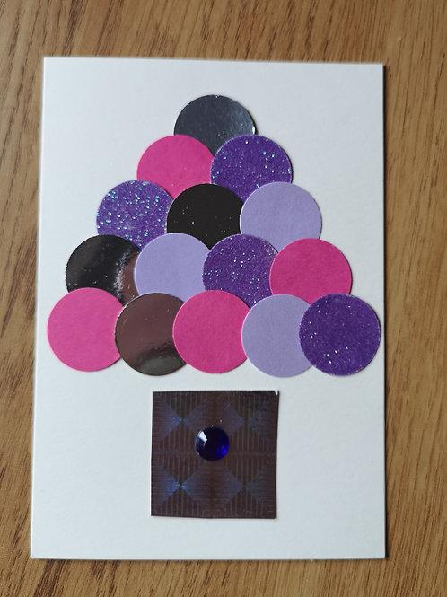 Purple christmas tree card