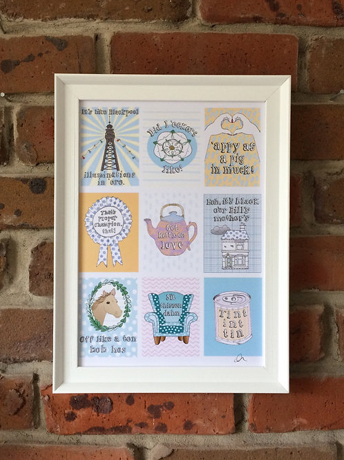 Yorkshire sayings signed Print