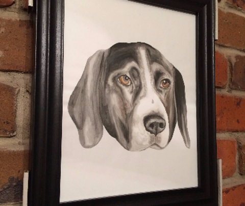 Framed Custom watercolour pet portrait