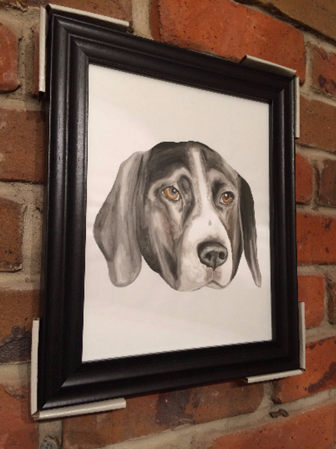 Framed Custom watercolour pet portrait