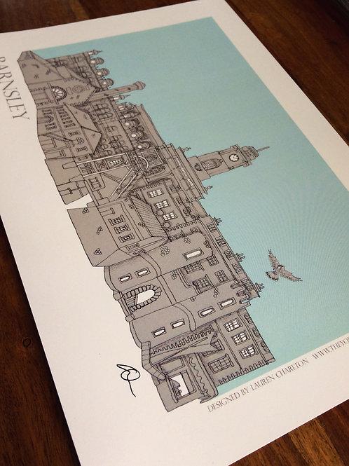 Framed A4 Barnsley Skyline signed Print