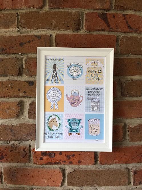 Framed Yorkshire sayings signed Print