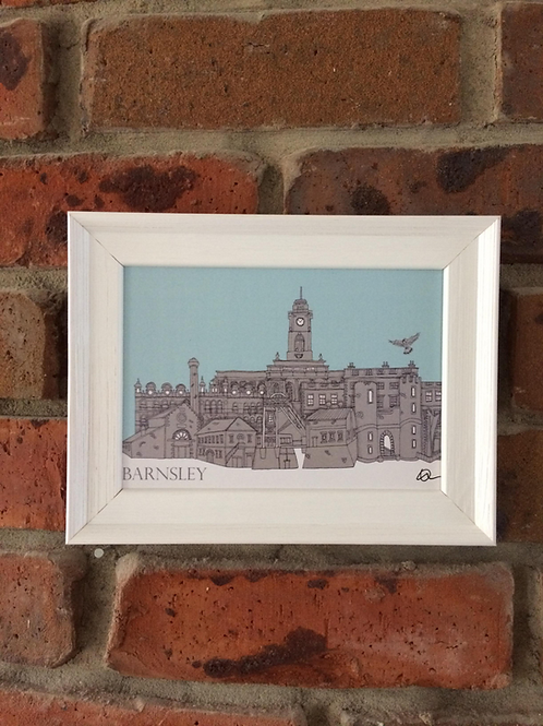 A5 Framed Barnsley Skyline Signed Print