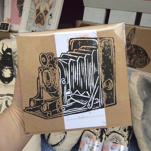 Vintage Camera Hand Printed Lino Card