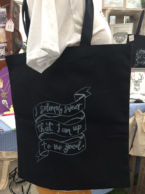 I solemnly swear that I am up to no good tote bag