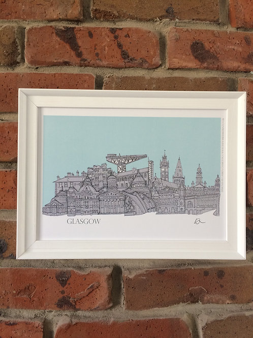 A4 Framed Glasgow Skyline Signed Print