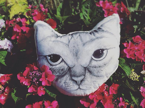 Large painted cat cushion