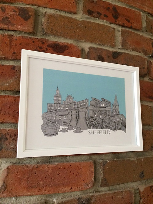 A4 Framed Sheffield Skyline Signed Print