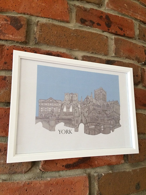 Framed York Skyline Signed print