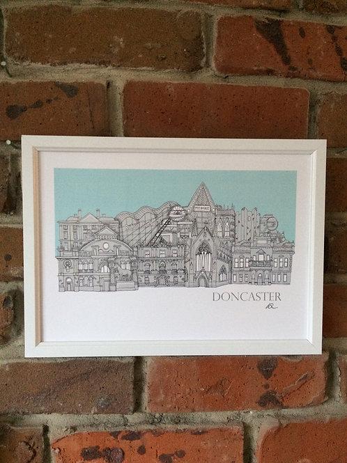 Framed Doncaster Skyline Signed Print
