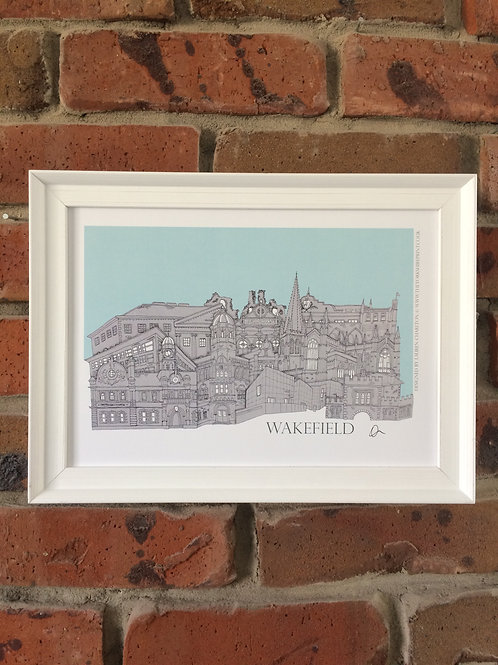 A4 Framed Wakfeild Skyline Signed Print