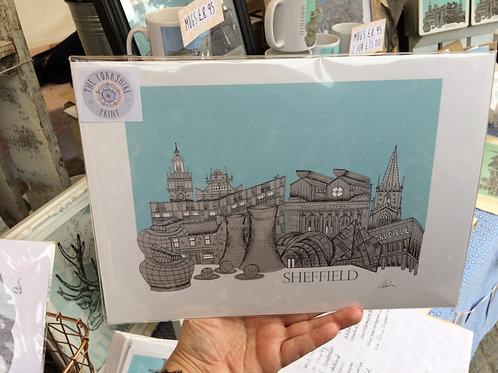 A2 Sheffield skyline Print