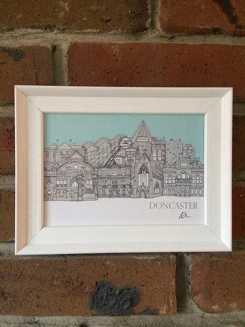 A5 Framed Doncaster Skyline signed Print