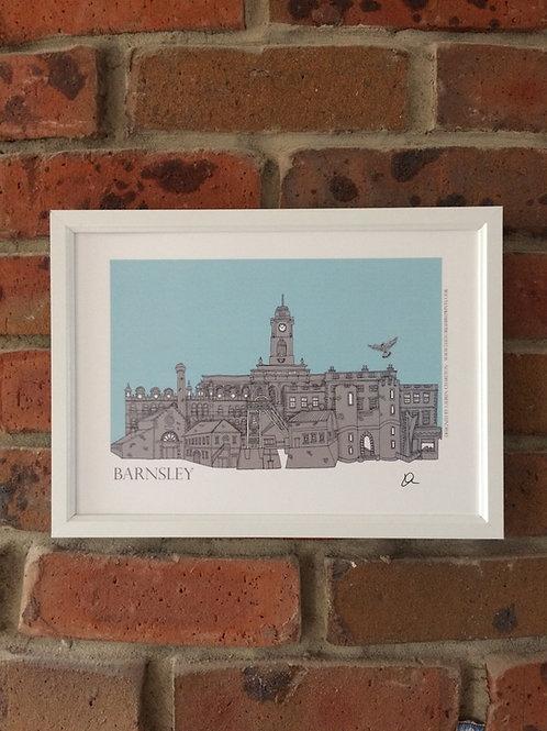 A4 Framed Barnsley Skyline Signed Print