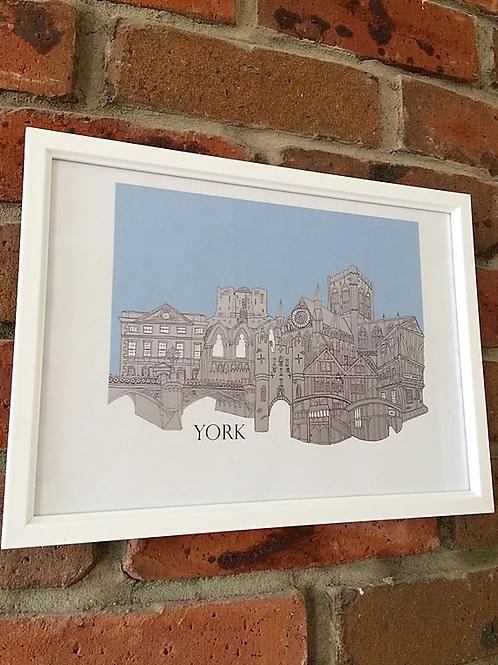 York A4 Signed Skyline Print (unframed)