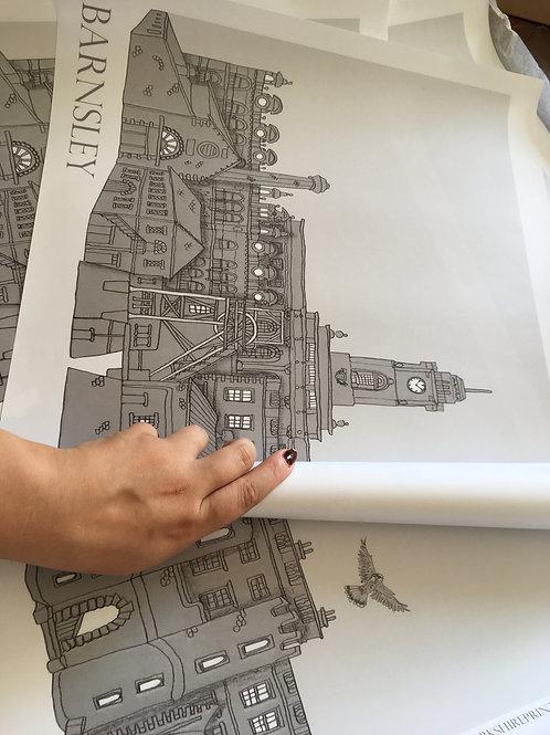 Barnsley A2 Grayscale Skyline signed Print