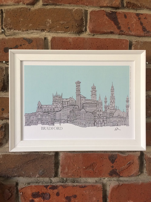 A4 Framed Bradford Skyline Signed Print