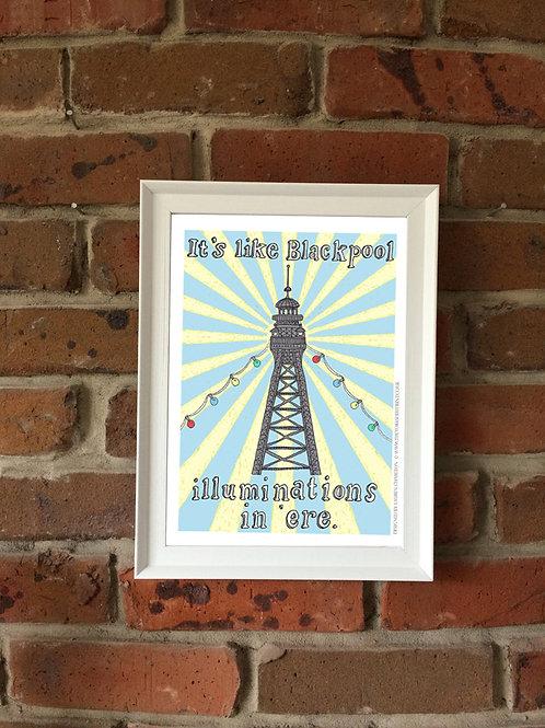 A4 Signed Print - 'Blackpool Illuminations'